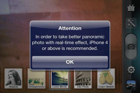 iPhone 4 o superior recomendado para mejor foto con efectos en tiempo real...