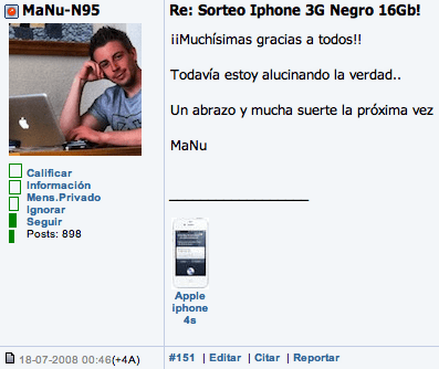 Ganador iPhone 3G