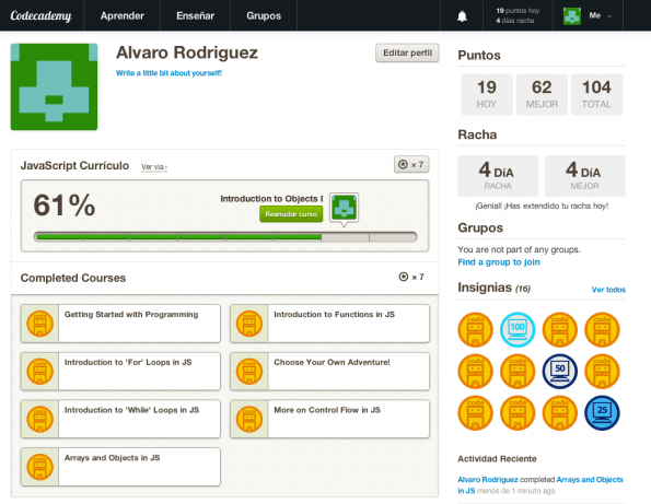 Codecademy badges