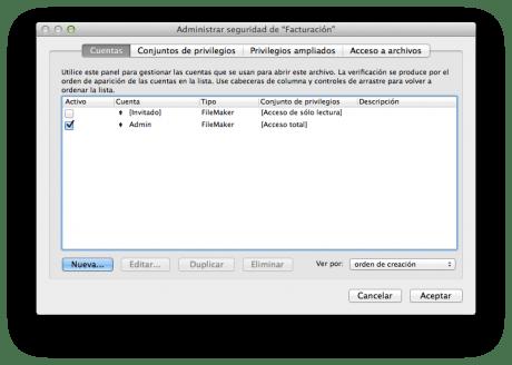 FileMaker 12 Administración Usuarios.
