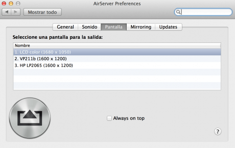 Tercera pestaña de la app AirServer