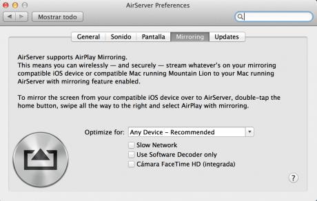 Cuarta pestaña de la app para OS X, AirSever