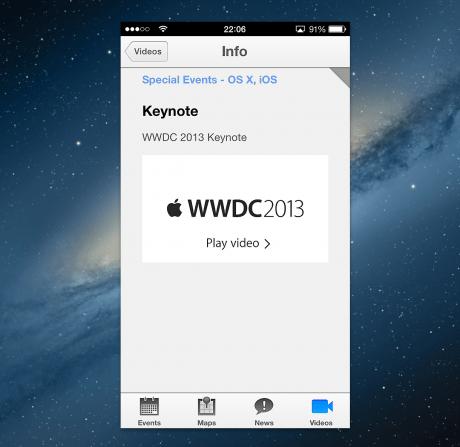 La app de la WWDC en mi MBP Retina