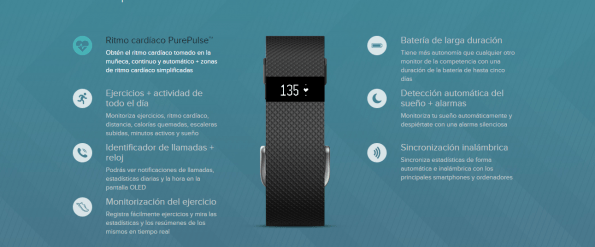 fitbit charge HR-especificaciones