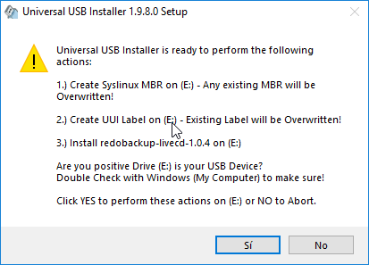 Universal USB Intaller confirmación